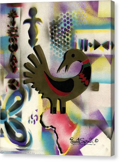 Frank Stella Canvas Print - Afro - Aesthetic - K  - Sankofa Bird  And Adinkra Symbol For Abundance by Everett Spruill