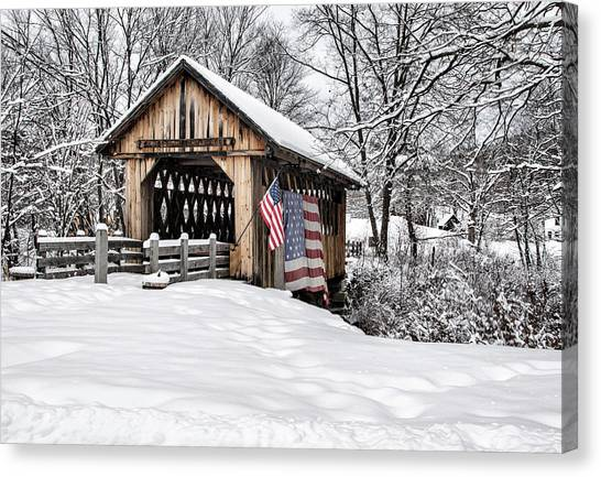 After A Winter Snow Storm Cilleyville Covered Bridge  Canvas Print
