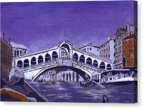 After Canal Grande With The Rialto Bridge Canvas Print by Hyper - Canaletto