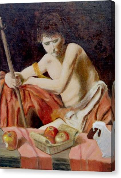 after Carravaggio's John in the widerness with apples and lamb Canvas Print by Edward Merrell