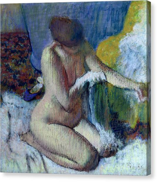 Nudes Canvas Print - After The Bath by Edgar Degas