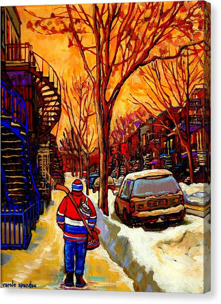 After The Hockey Game A Winter Walk At Sundown Montreal City Scene Painting  By Carole Spandau Canvas Print