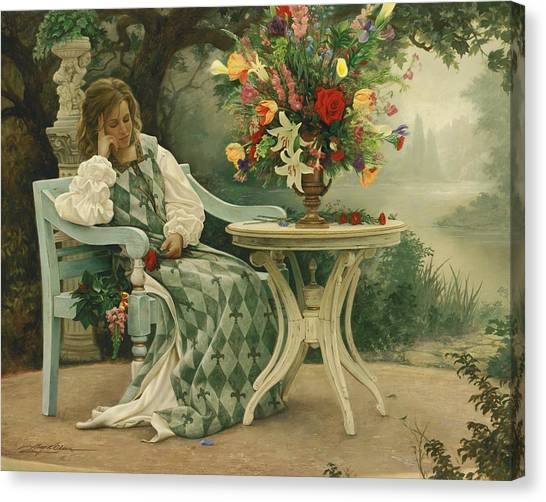 Benches Canvas Print - After The Masquerade by Greg Olsen