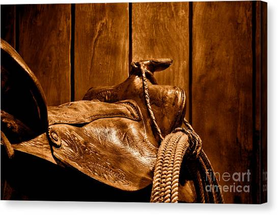 Lassos Canvas Print - After The Round Up - Sepia by Olivier Le Queinec