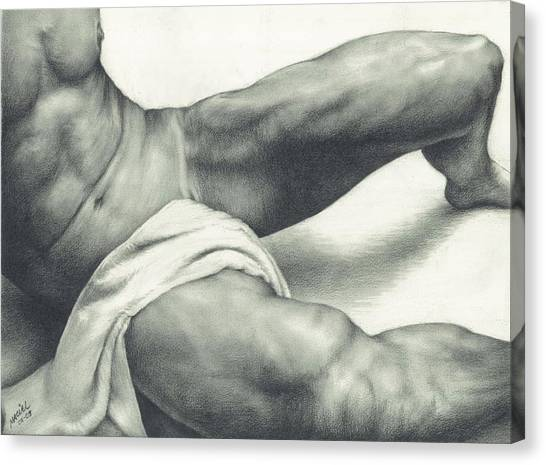 Male Nude Art Canvas Print - After The Steam by Maciel Cantelmo