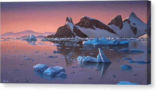 Afterglow Lemarie Channel Antarctica Canvas Print
