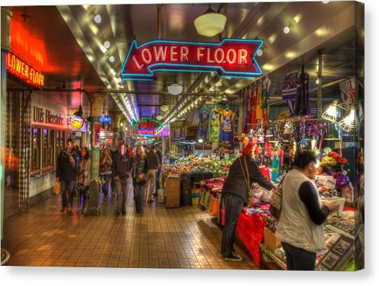 Afternoon At The Pike Street Market Seattle Washington Canvas Print
