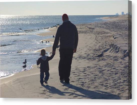 Afternoon Beach Walk Canvas Print by Russell Ford