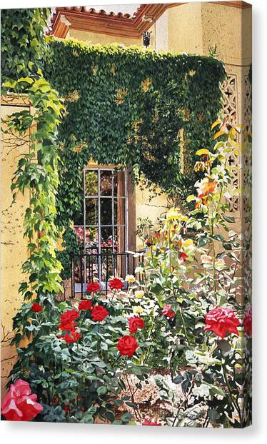 Beverly Hills Canvas Print - Afternoon In The Rose Garden by David Lloyd Glover