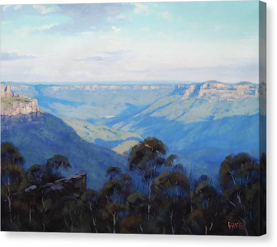 Neck Canvas Print - Afternoon Light Jamison Valley by Graham Gercken