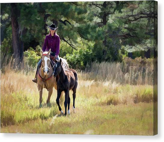 Afternoon Ride In The Sun - Cowgirl Riding Palomino Horse With Foal Canvas Print
