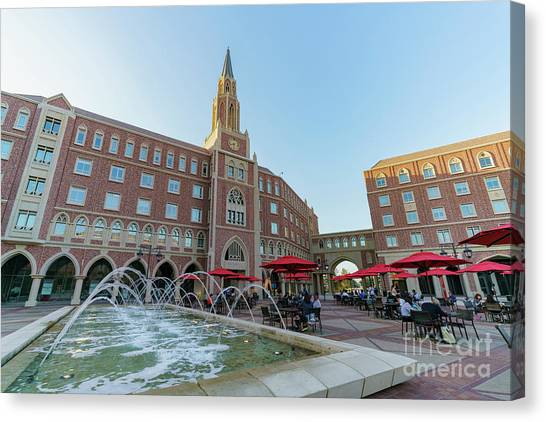 University Of Southern California Usc Canvas Print - Afternoon View Of The Beautiful Mccarthy Honors Residential Coll by Chon Kit Leong
