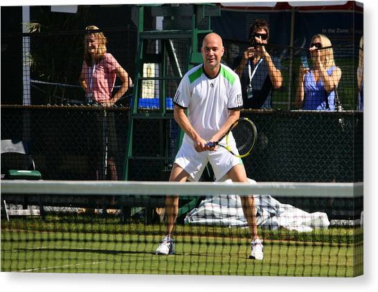 Andre Agassi Canvas Print - Agassi Warmup by Annie Babineau