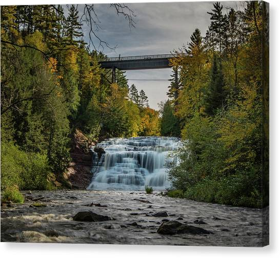 Agate Falls With Railroad Bridge Canvas Print