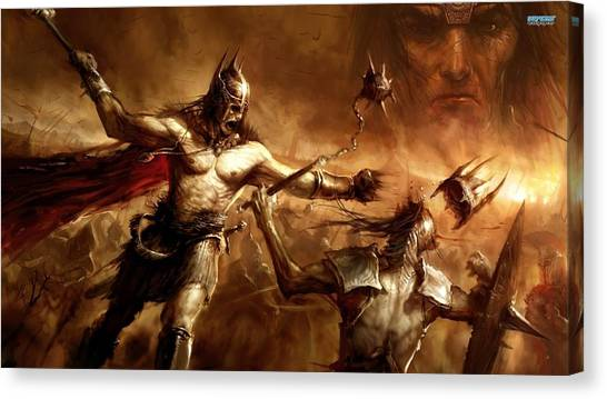 Saddles Canvas Print - Age Of Conan by Maye Loeser