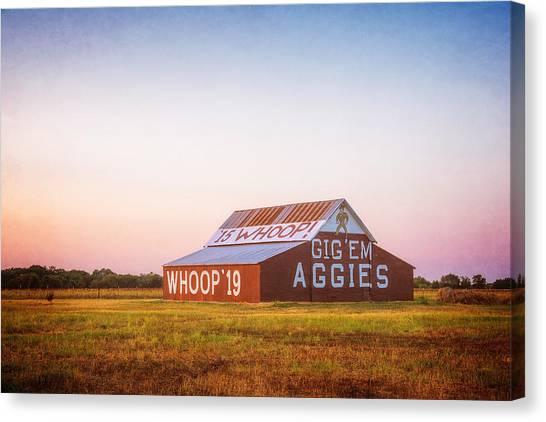 M.a Canvas Print - Aggie Barn Sunrise 2015 Textured by Joan Carroll