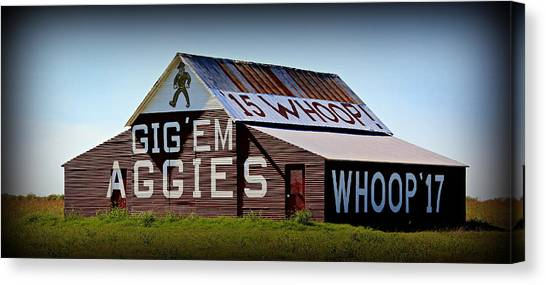 The University Of Texas Canvas Print - Aggie Barn - Whoop  by Stephen Stookey