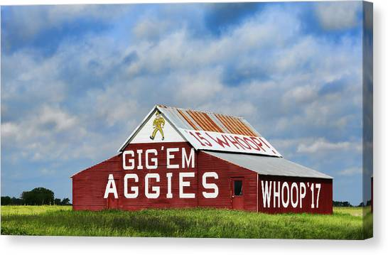 Texas A Canvas Print - Aggie Nation Barn by Stephen Stookey