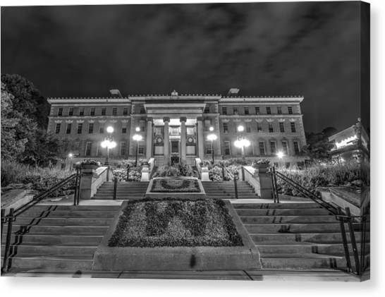 University Of Wisconsin - Madison Canvas Print - Agricultural Hall Uw Madison Black And White by Gregory Payne