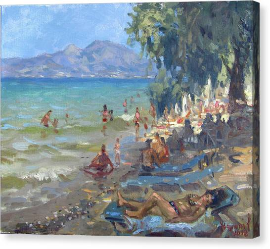 Greek Art Canvas Print - Agrilesa Beach Athens  by Ylli Haruni