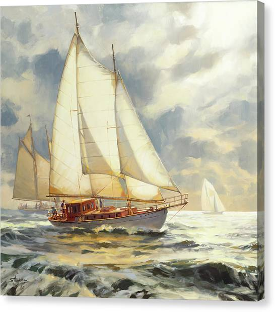Sailors Canvas Print - Ahead Of The Storm by Steve Henderson
