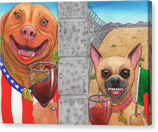 Border Wall Canvas Print - Aint No Wall Gonna Keep These Bitches From Wining by Catherine G McElroy