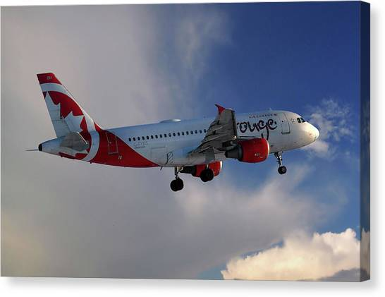 Airlines Canvas Print - Air Canada Rouge Airbus A319-114 by Smart Aviation