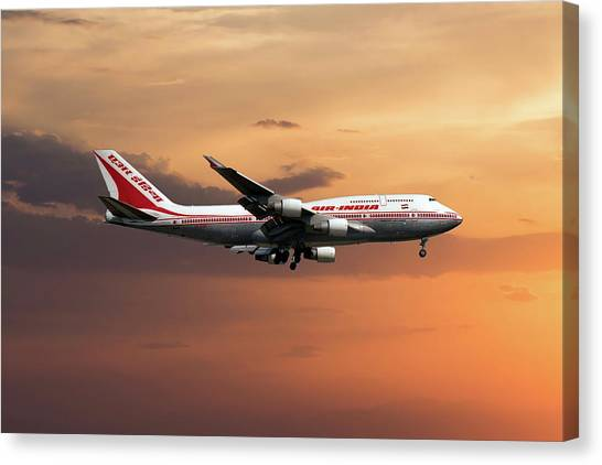 Boeing Canvas Print - Air India Boeing 747-437 by Smart Aviation