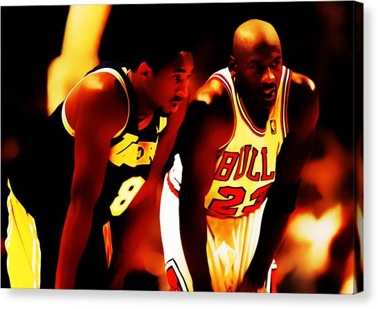 La Lakers Canvas Print - Air Jordan And Kobe Bryant 03c by Brian Reaves