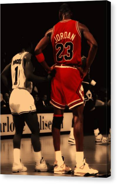 Utah Jazz Canvas Print - Air Jordan And Muggsy Bogues by Brian Reaves