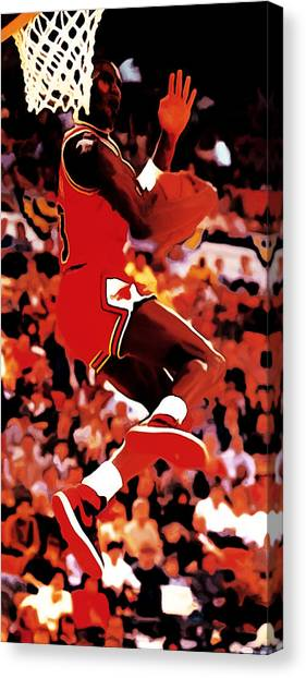 Utah Jazz Canvas Print - Air Jordan Cradle Dunk by Brian Reaves