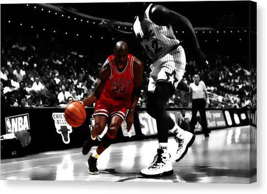 La Lakers Canvas Print - Air Jordan On Shaq by Brian Reaves