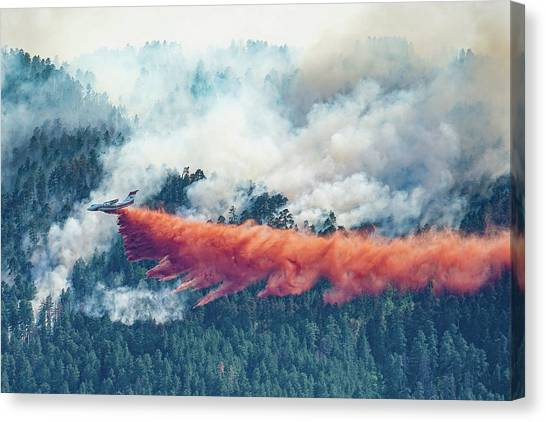 Air Tanker On Crow Peak Fire Canvas Print