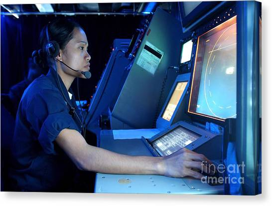 Air Traffic Control Canvas Print - Air Traffic Controller Monitors Marine by Stocktrek Images
