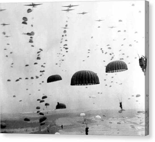 Military Canvas Print - Airborne Mission During Ww2  by War Is Hell Store