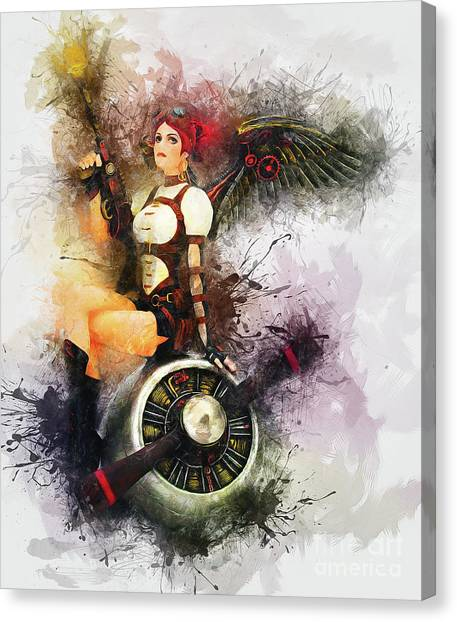 Aircraft Girl Canvas Print
