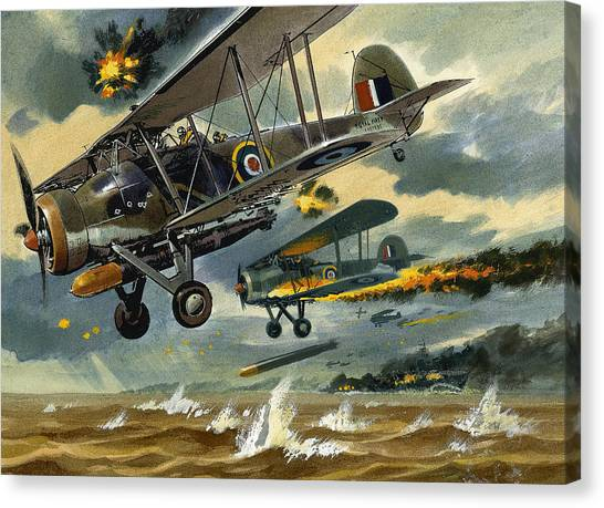 Wii Canvas Print - Aircraft Under Fire by Wilf Hardy
