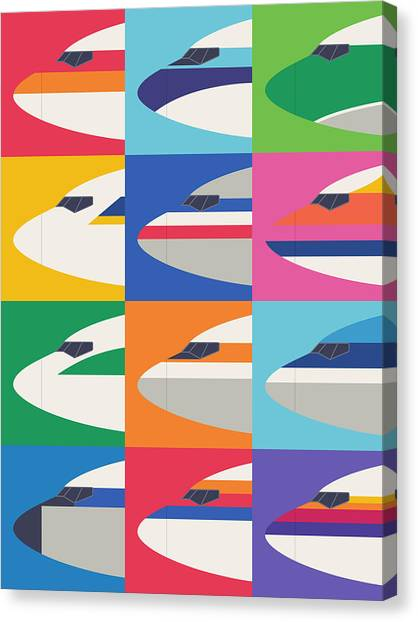 Nose Canvas Print - Airline Livery - Large Grid by Ivan Krpan