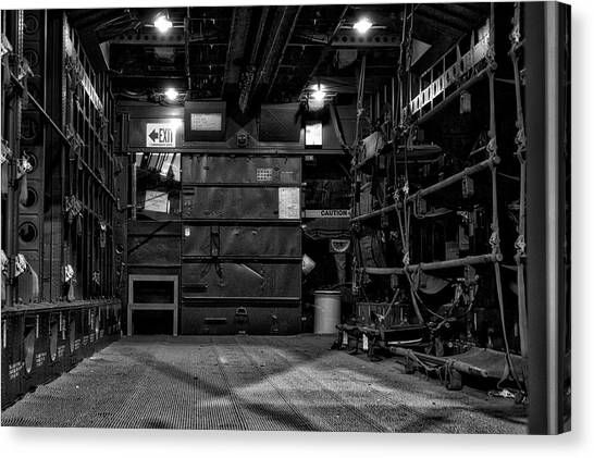 Medivac Canvas Print - Airplanes Military C119g Flying Boxcar Interior Cargo Area Bw by Thomas Woolworth