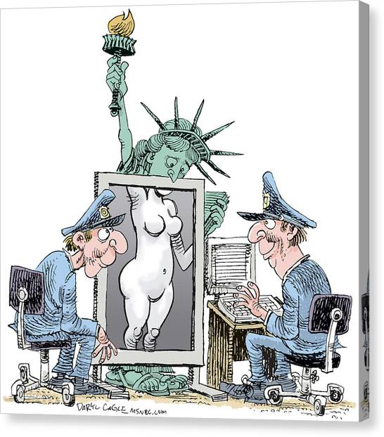 Canvas Print featuring the drawing Airport Security And Liberty by Daryl Cagle