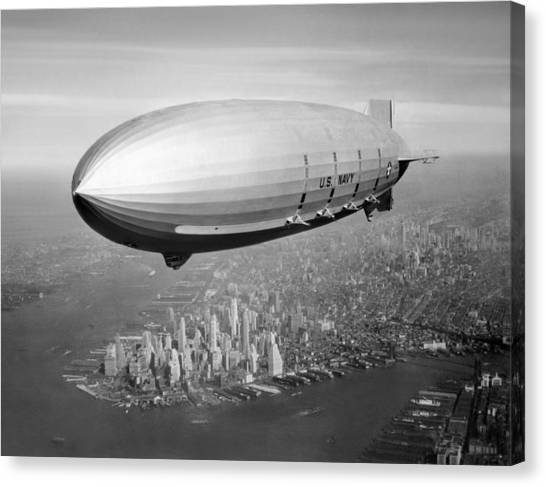Blimps Canvas Print - Airship Flying Over New York City by War Is Hell Store