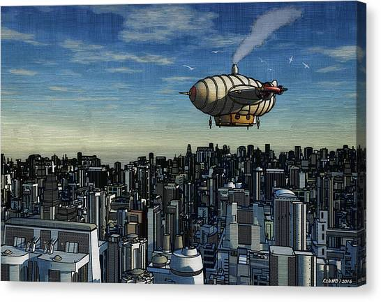 Airship Over Future City Canvas Print