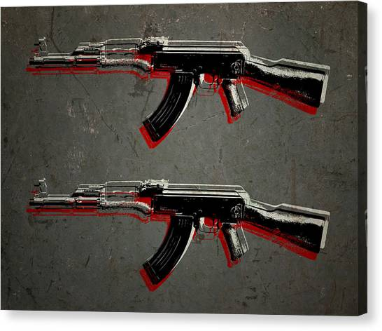 Rifles Canvas Print - Ak47 Assault Rifle Pop Art by Michael Tompsett