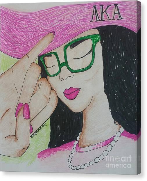 Alpha Kappa Alpha Canvas Print - Aka Lady by The Pour Artist NJ