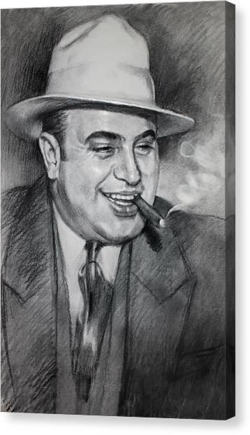 Charcoal Canvas Print - Al Capone  by Ylli Haruni