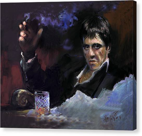 Scarface Canvas Print - Al Pacino Snow by Ylli Haruni