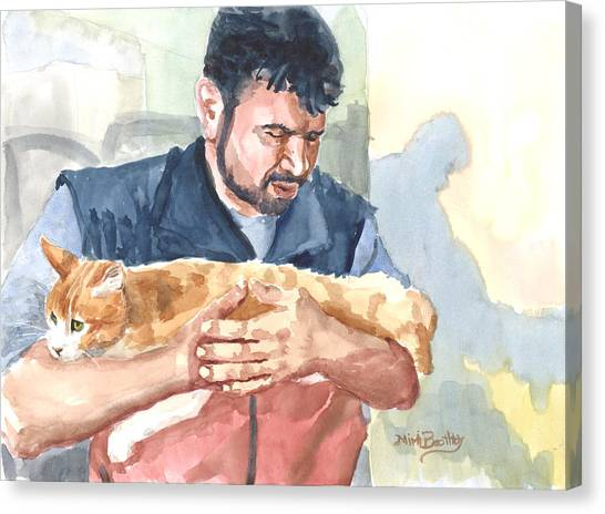 Alaa Rescuing An Injured Cat Canvas Print