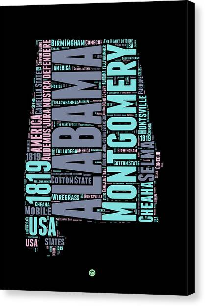 America Map Canvas Print - Alabama Word Cloud 1 by Naxart Studio