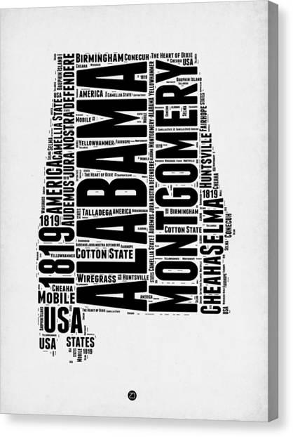 Alabama Canvas Print - Alabama Word Cloud 2 by Naxart Studio