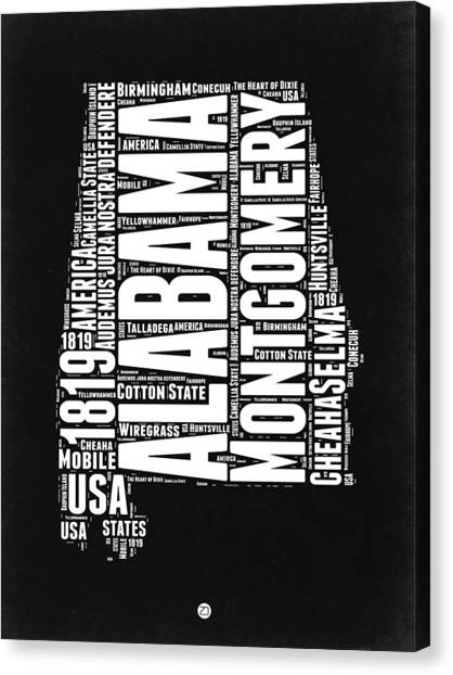 Alabama Canvas Print - Alabama Word Cloud Black And White Map by Naxart Studio